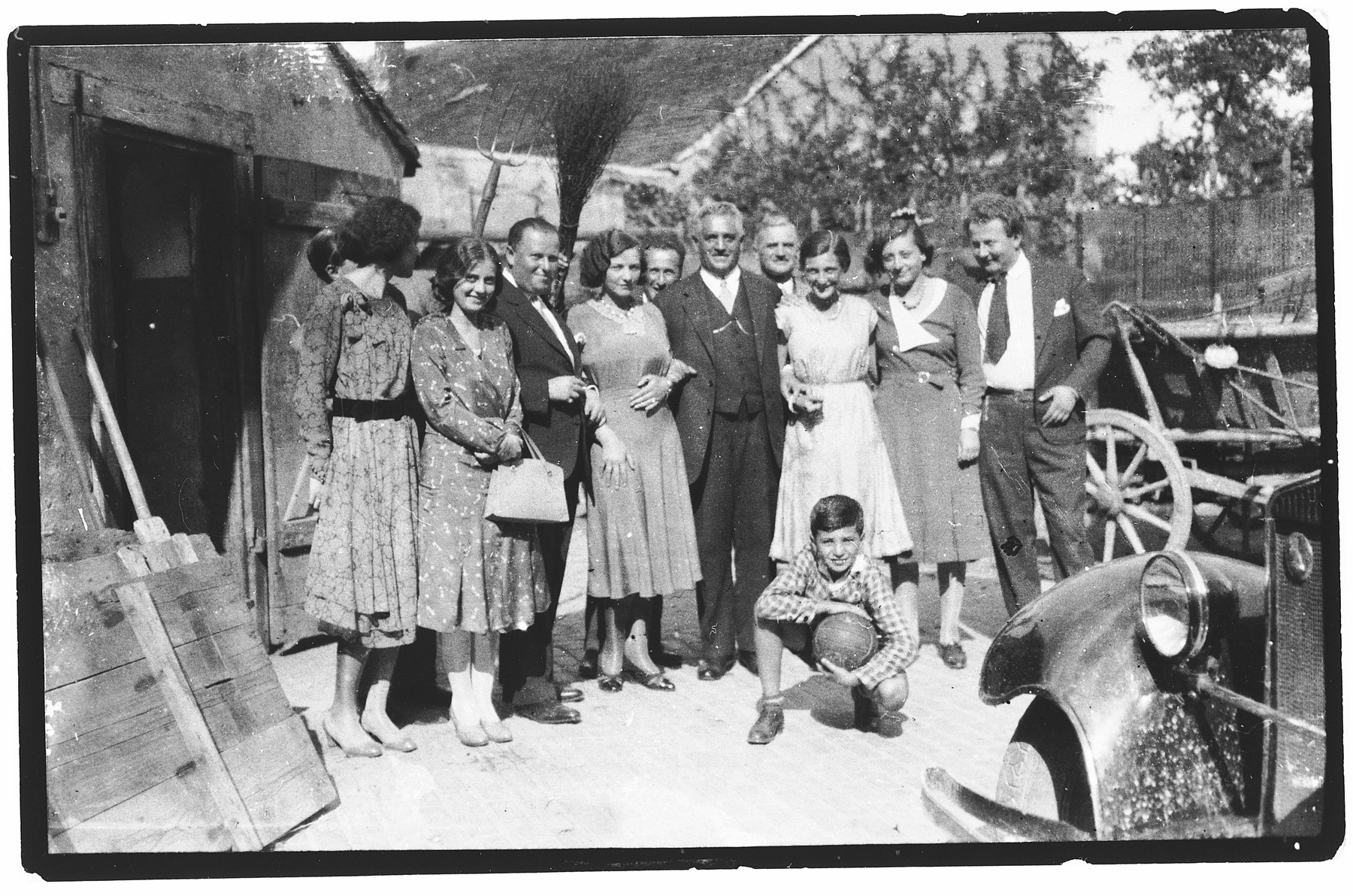 Group portrait of the extended Pisker family.  Pictured third from the right is Helen Pisker (later Sobotka, later Offenberger.)