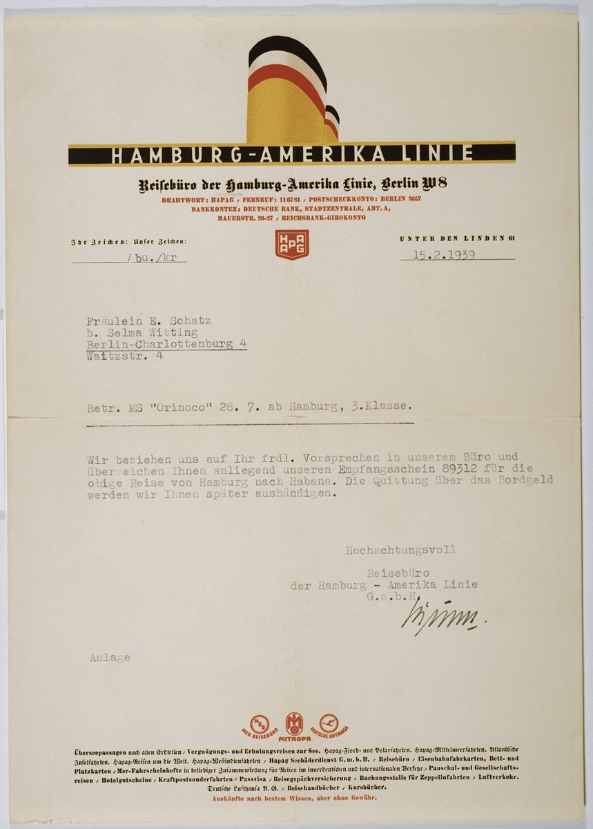 Letter from the Hamburg-Amerika Line sent to Ella Schatz confirming her passage on board the Orinoco.