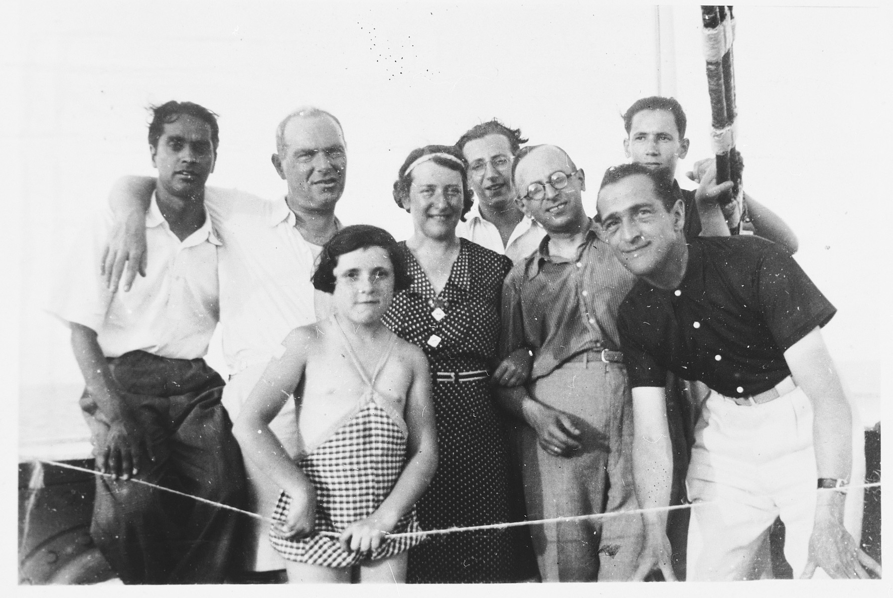 The Matzdorff family and other Jewish refugees pose on the deck of the S.S. Victoria on route to Shanghai.