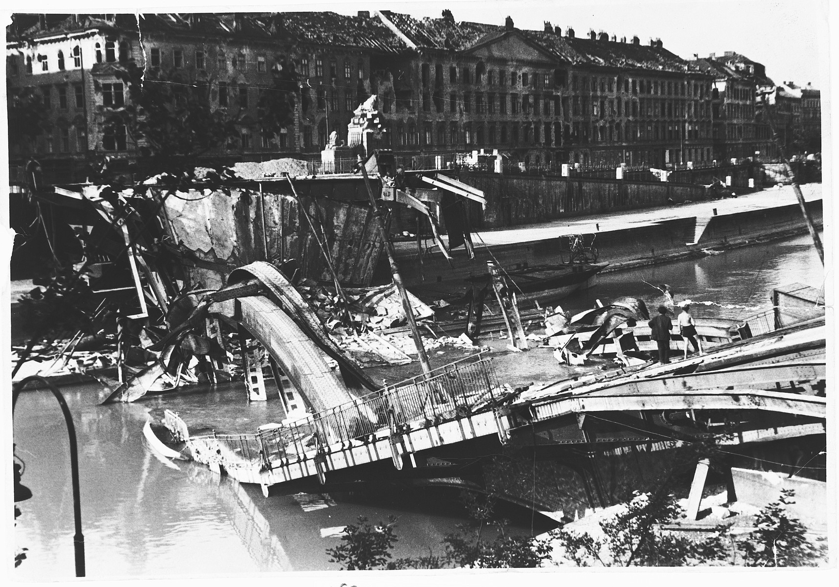 View of a bombed out bridge in Vienna, Austria.