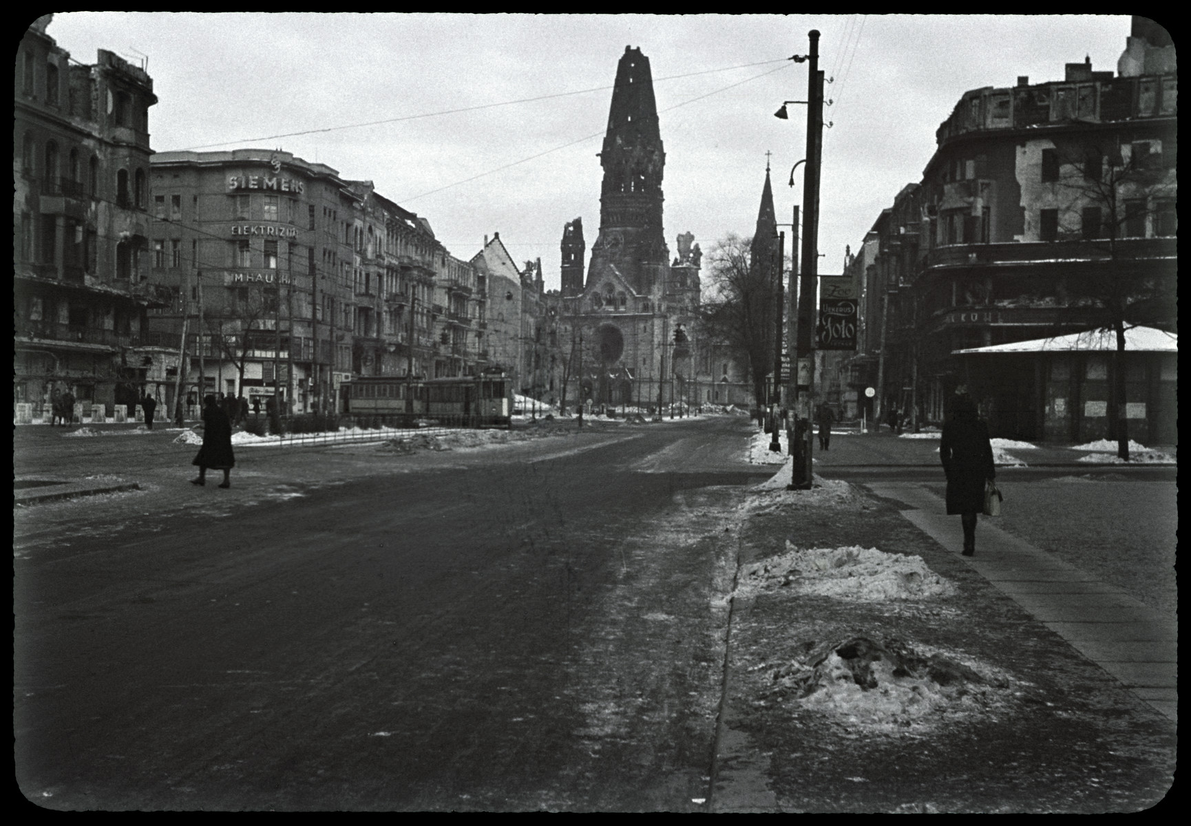 Street scene in postwar Berlin.