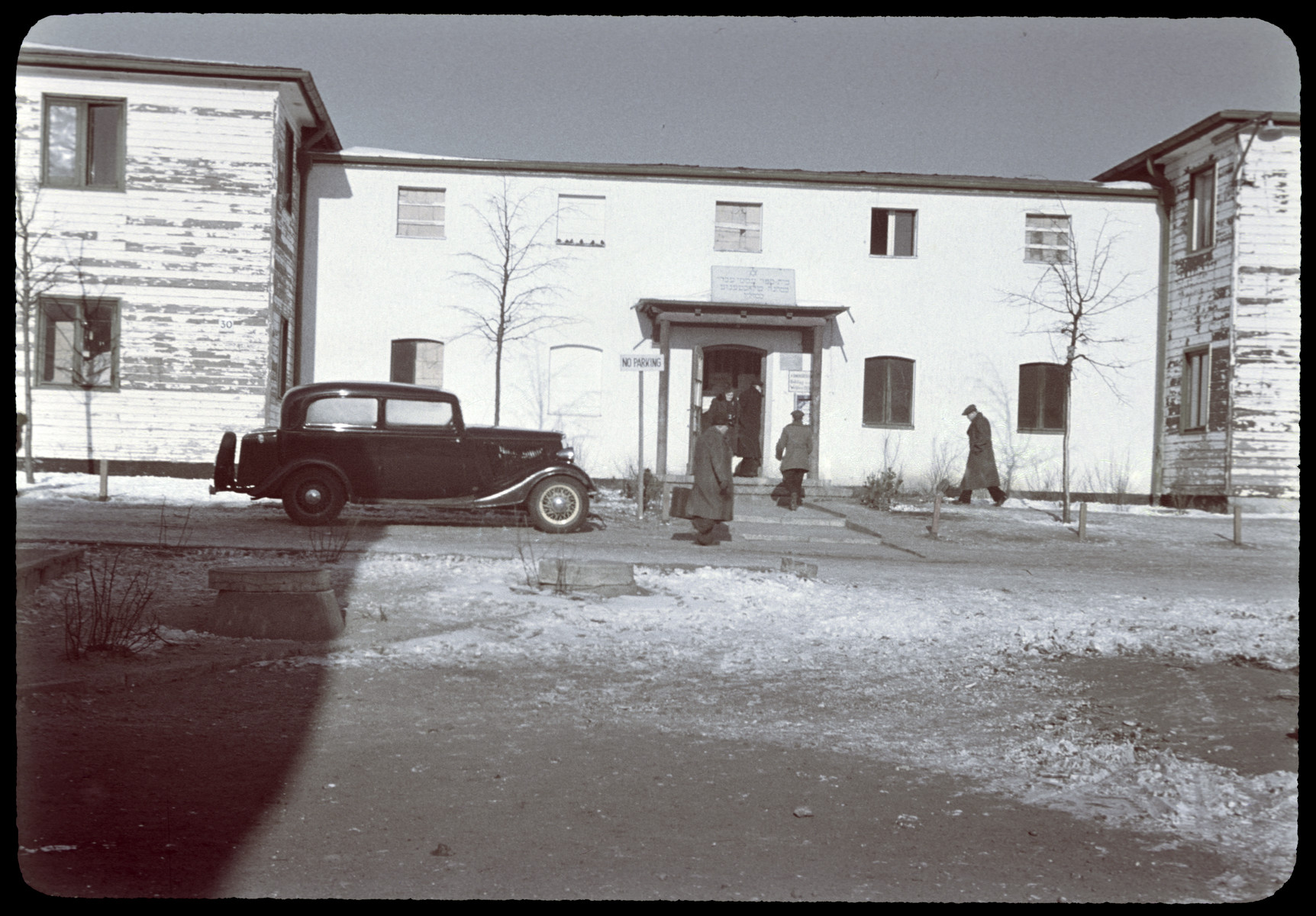 Exterior of the the center at the Berlin-Duppel displaced persons camp.