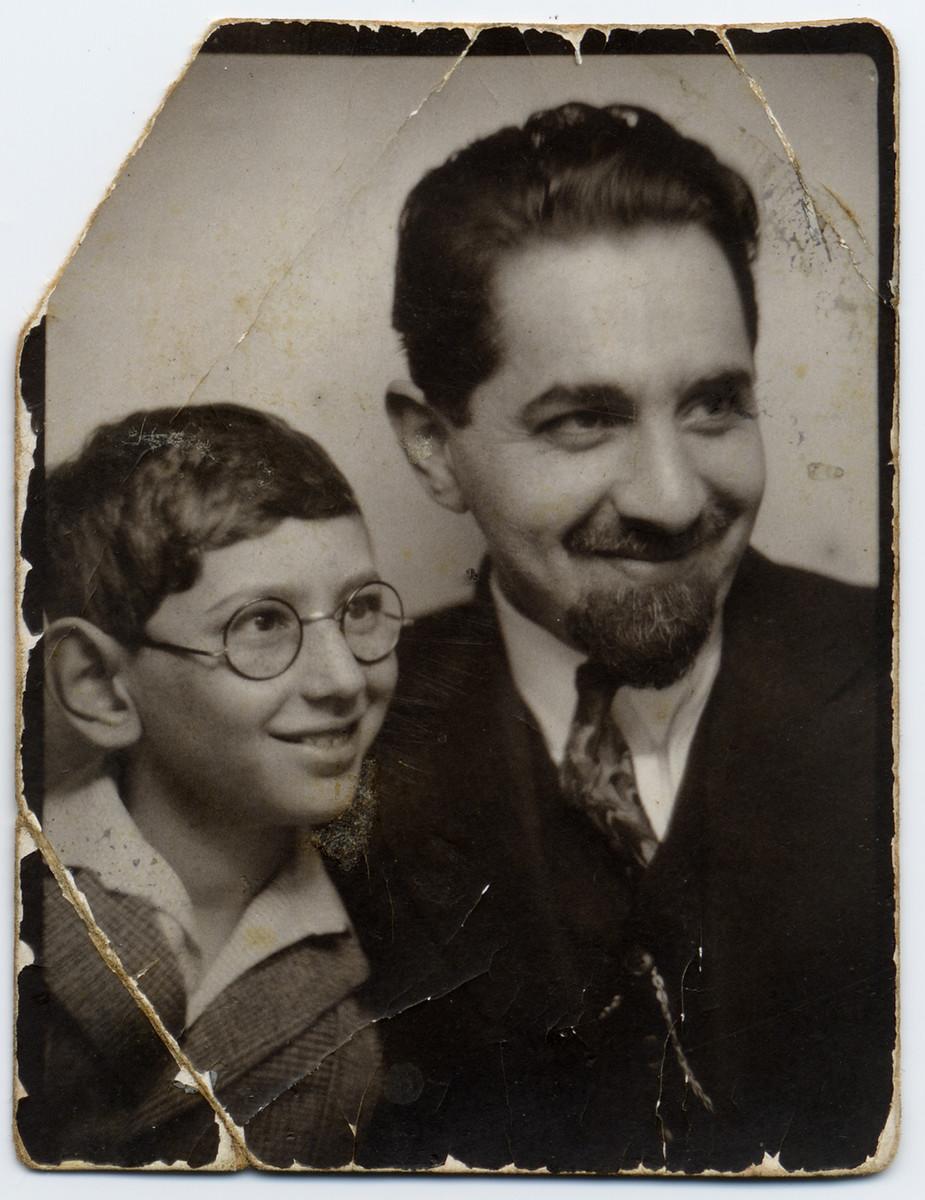 Bar Mitzvah portrait of Julek Bialer and his father, Aharon Bialer.