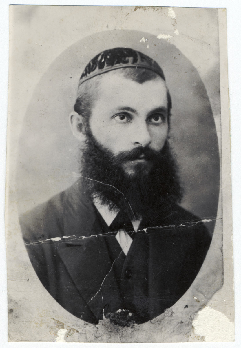 Portrait of Rabbi Chaim Yehuda Ehrenreich, uncle of the donor.  Rabbi Ehrenreich served as Dayan of Humenna and was the editor of a leading Torah journal, Ozar ha-Hayyim.  He and his family were killed by the Nazis in Lublin in 1942.