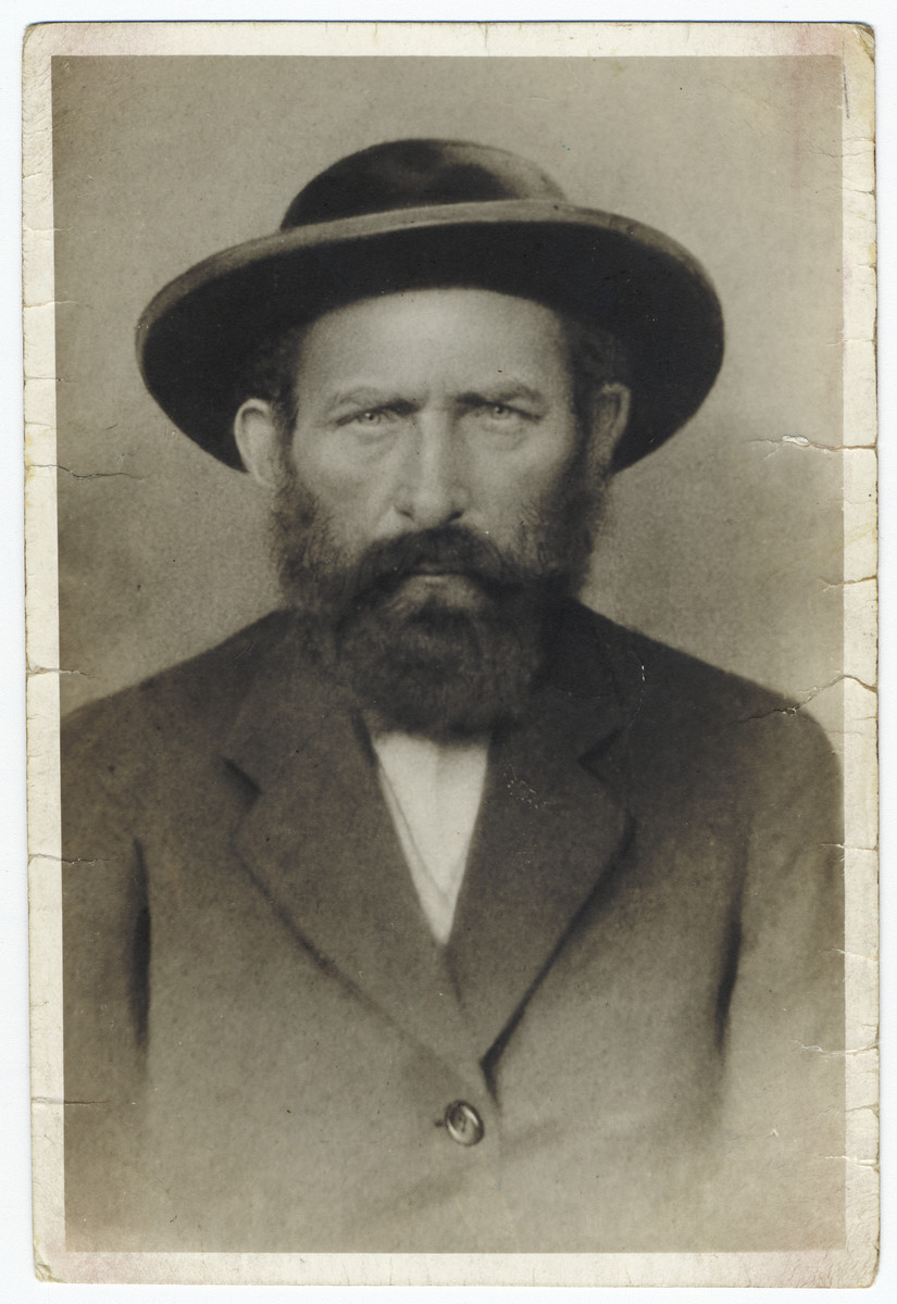 Portrait of Yehuda (Lajos) Kallus, uncle and father-in-law of the donor.  Yehuda Kallus owned a distillery before the war.  He perished in 1941.  His wife Miriam also perished in the Holocaust.