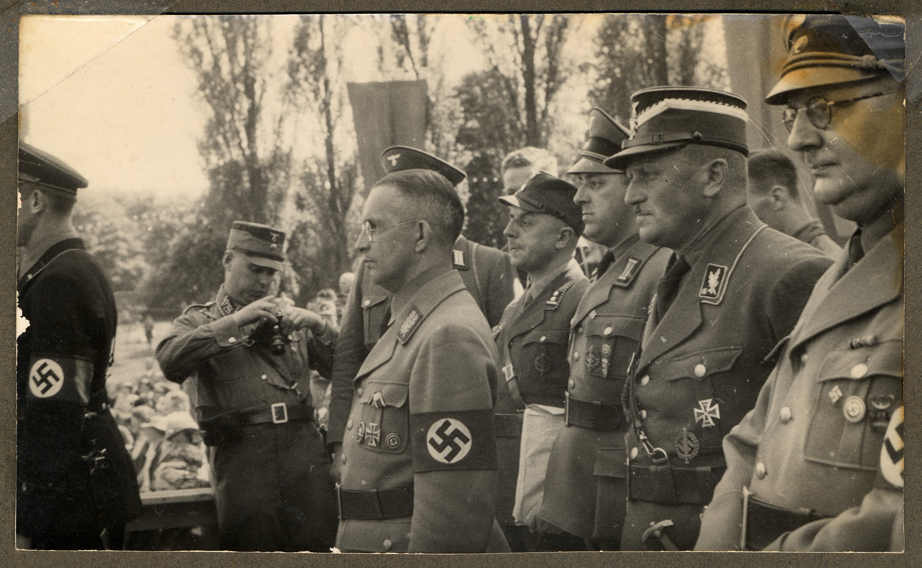 Nazi military officials meet at Gronau, a German town on the border of the Netherlands.  In profile, third from left, is Dr. Alfred Meyer, Gauleiter of Westfalen-Nord and future State Secretary in the Reich Ministry for the Occupied Eastern Territories.