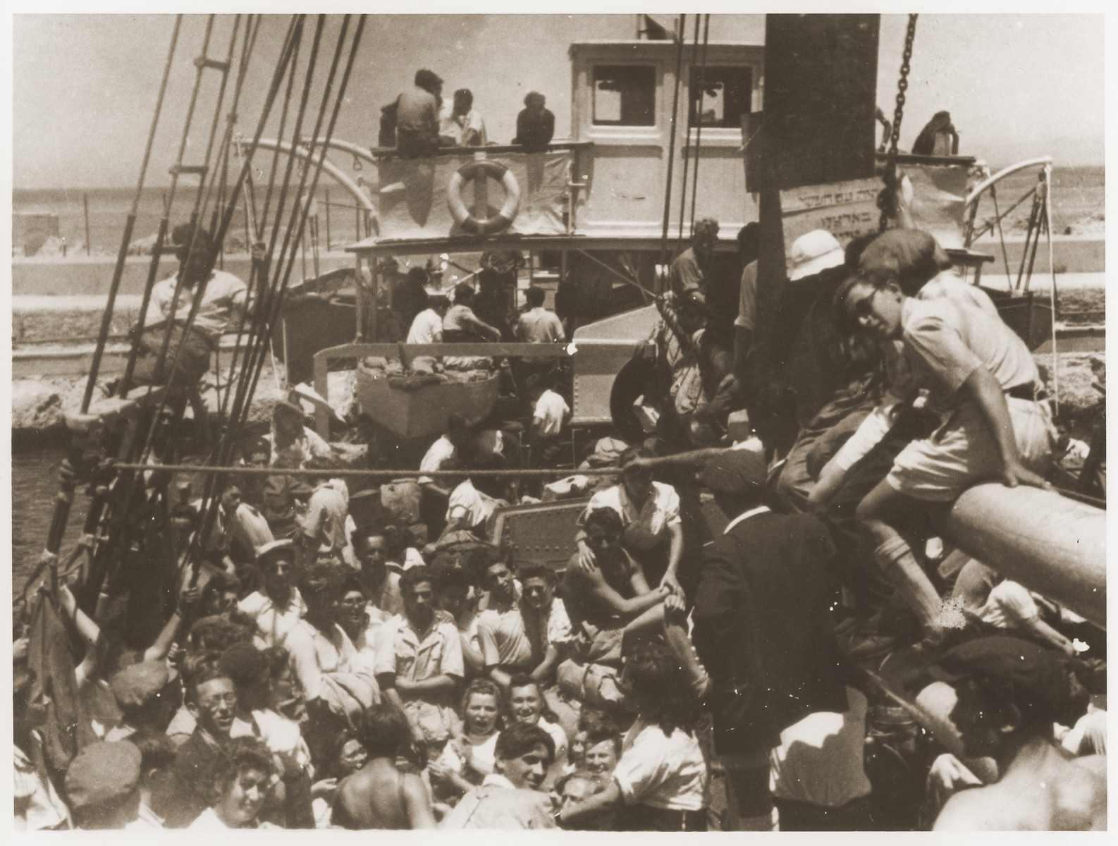Jewish DPs on board the Dov Hos in the port of La Spezia awaiting permission to sail to Palestine.