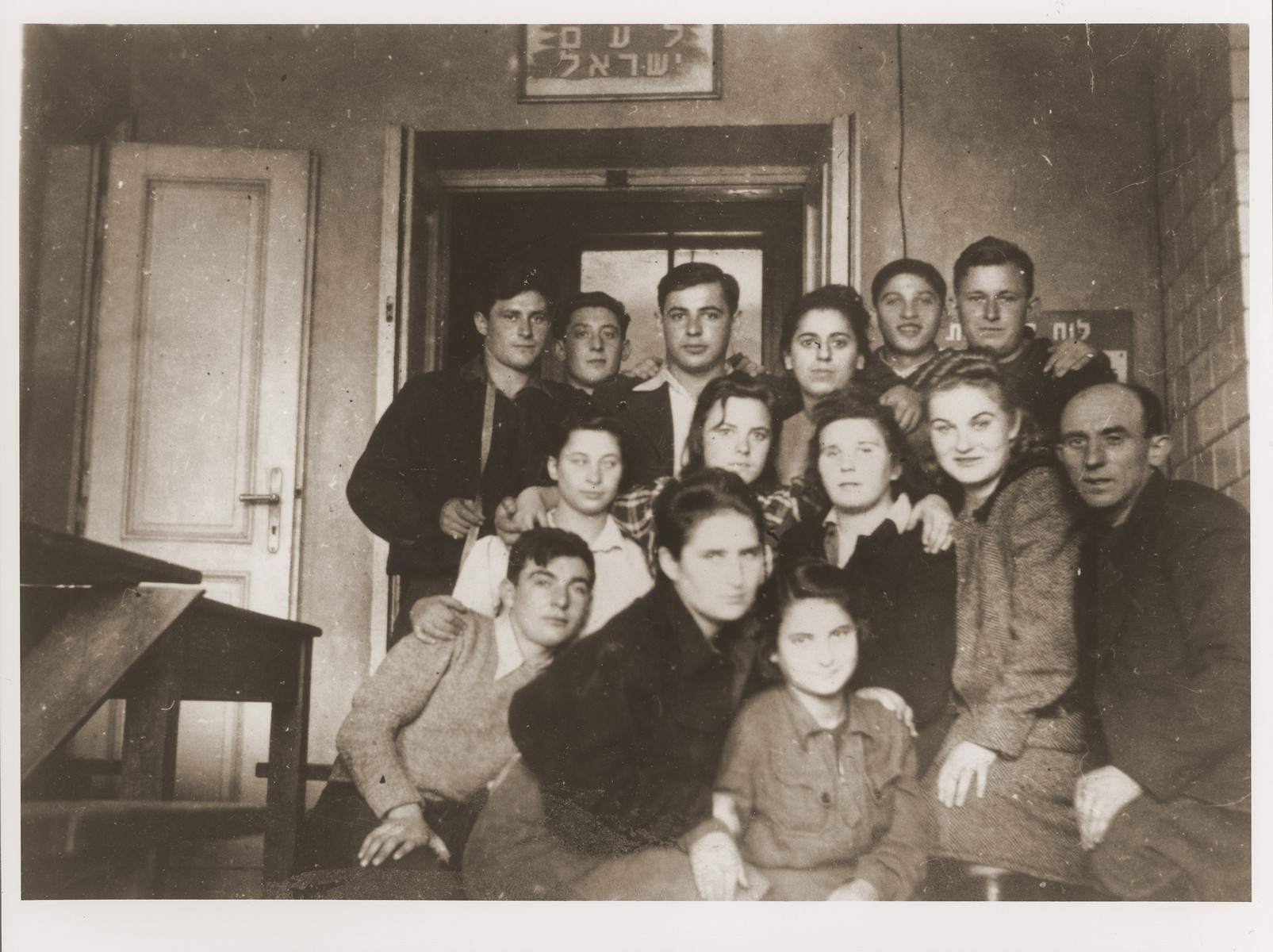 Members of the Kibbutz Ichud hachshara at their headquarters in Warsaw.