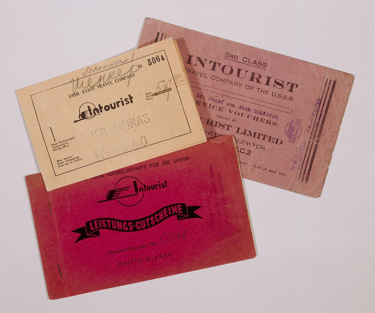 Composite photograph of Intourist tickets for the trans-Siberian railway used by Jewish refugees fleeing to the Far East.