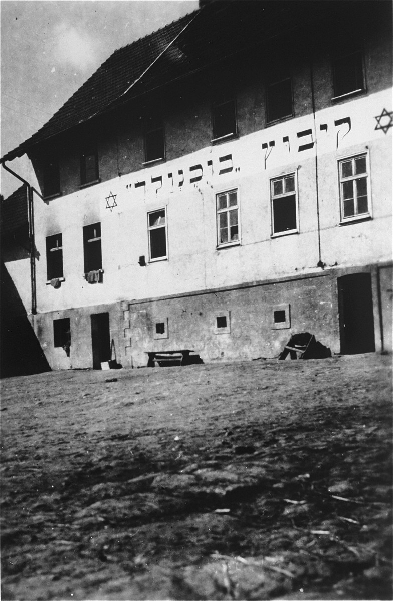 View of the main building at the Kibbutz Buchenwald Zionist collective in Geringshof, Germany.
