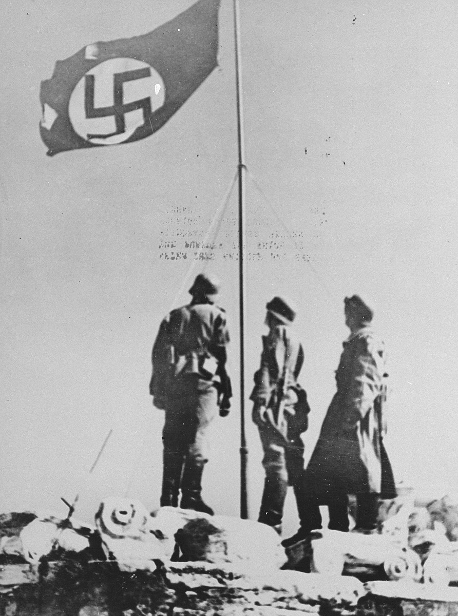 German troops raise the Nazi flag over the Acropolis.