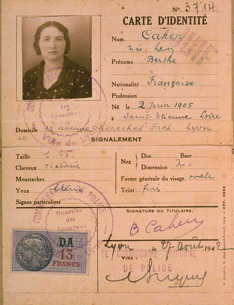 "The identification card of Berthe Levy Cahen, stamped ""Juif"" (Jew), which was issued by French police in Lyon."