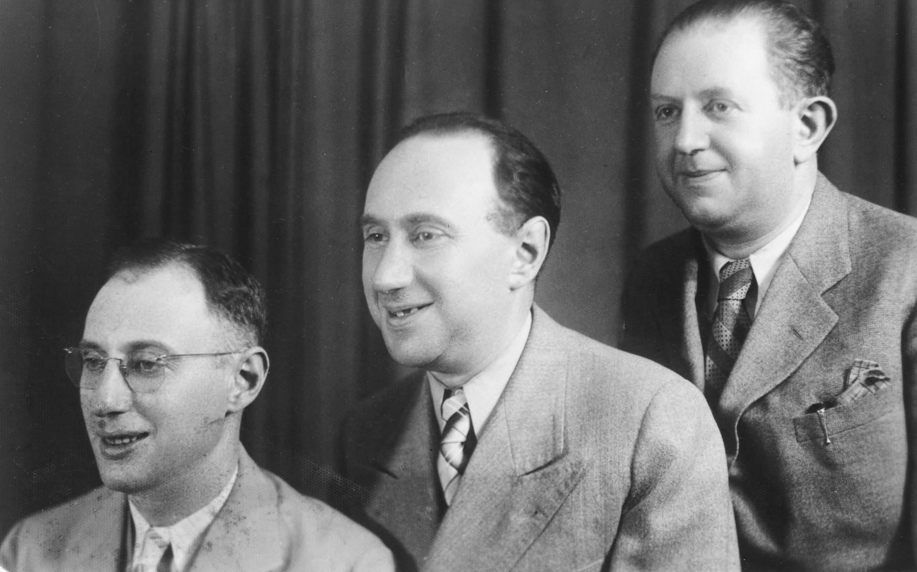 Prewar photograph of the three Levin brothers.  From left to tight are Max (who had immigrated to Canada and returned for a visit), Alex (Yehezkel) and Moshe.  Moshe later became the chief of the Kovno ghetto police and was among those executed at the Ninth Fort in March 1944 for his cooperation with the resistance.