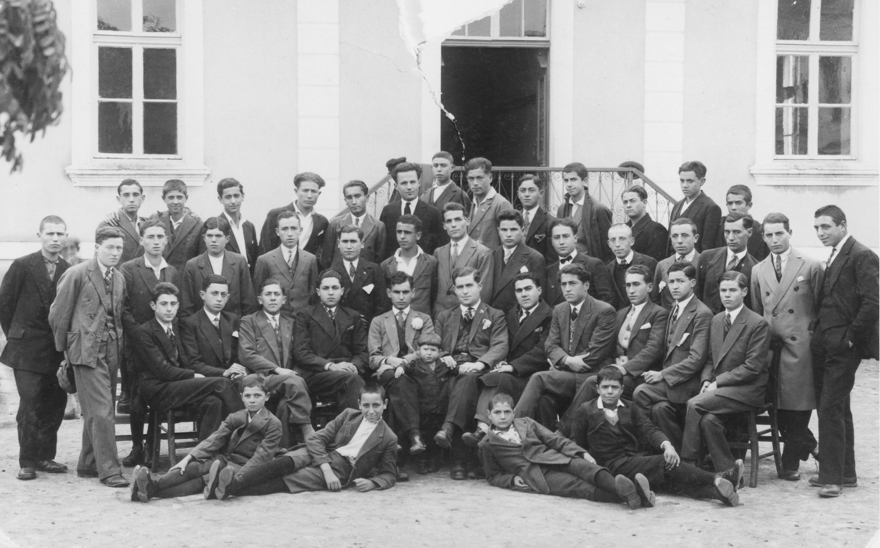 Group portrait of [what probably is a boy's school] in Macedonia.