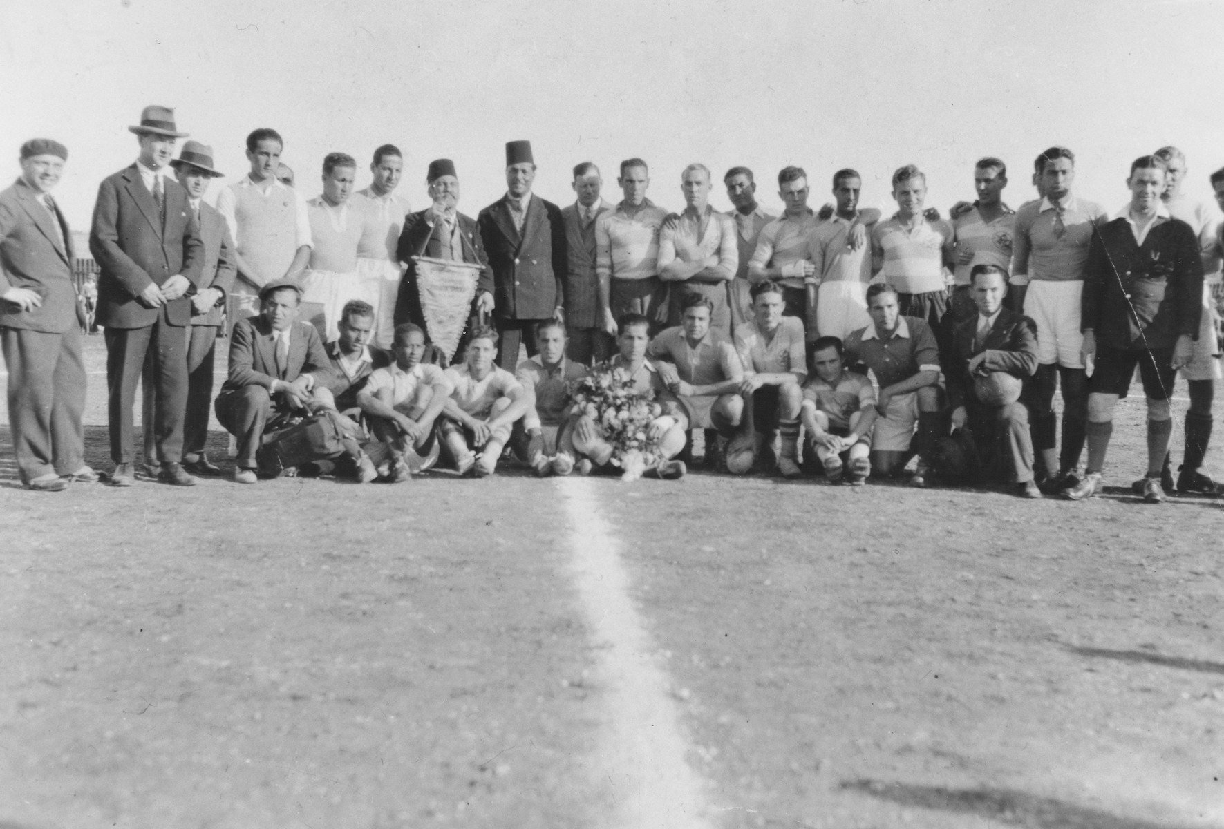 Group portrait of a Jewish soccer team in Macedonia.