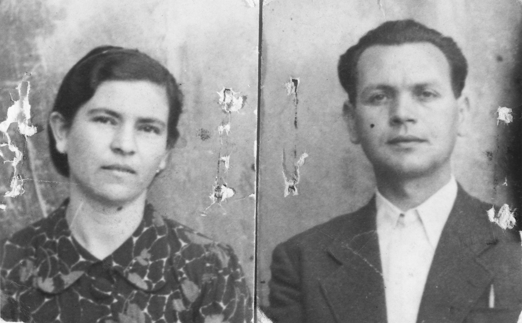 Portrait of a Macedonian Jewish couple, Moise and Sol Navon.  Individual and family portraits of members of the Jewish community of Bitola, Macedonia, used by Bulgarian occupation authorities to register the Jewish population to it deportation in March 1943.