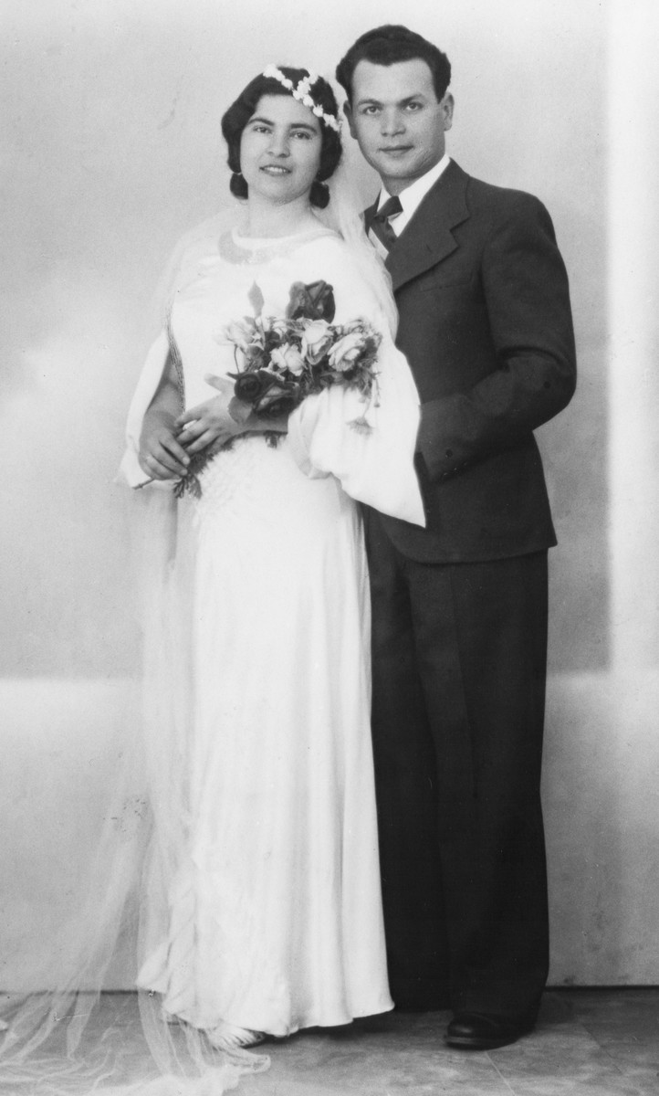 Wedding portrait of a Jewish couple in Macedonia.