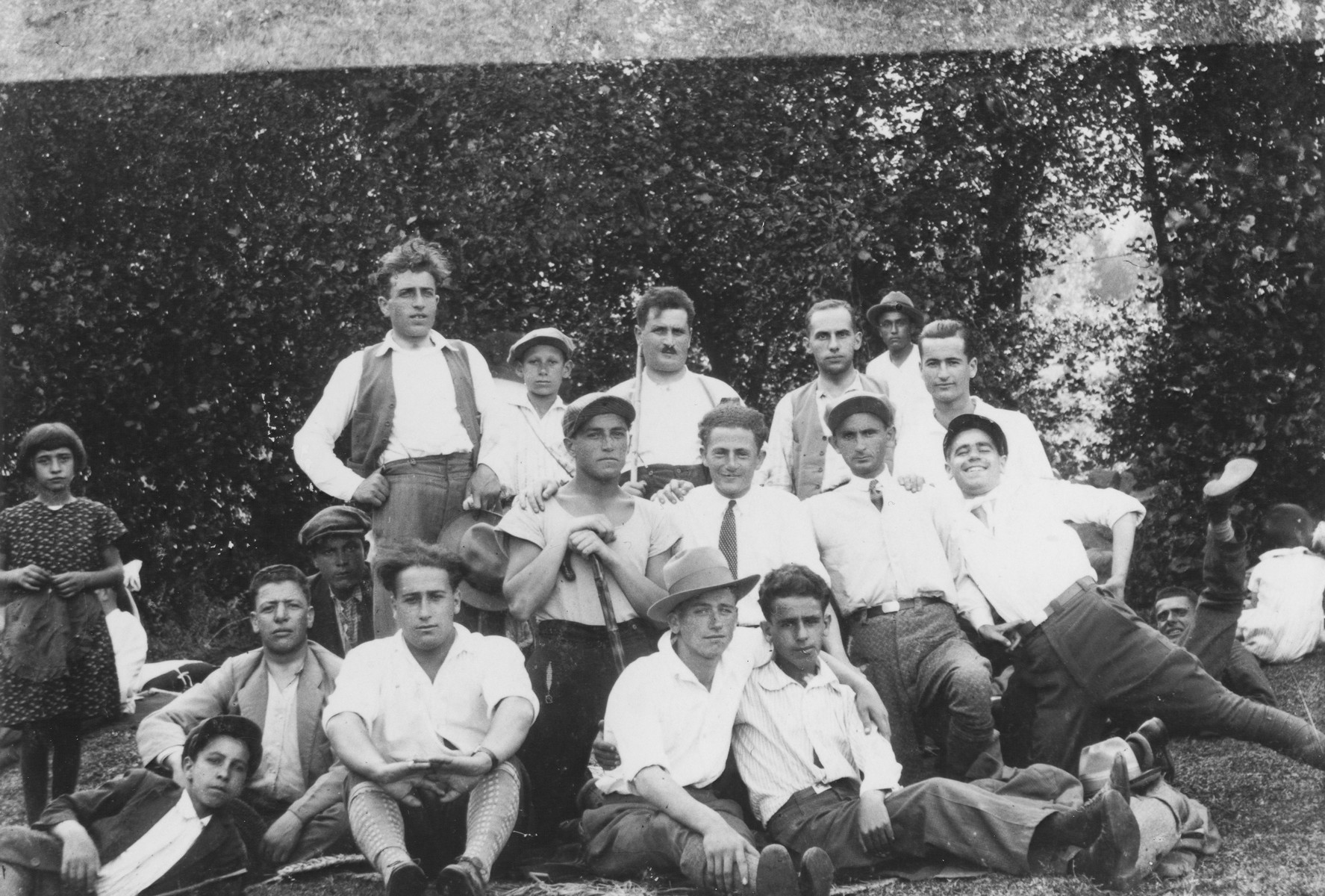 A group of Jewish young men pose while on an excursion in the Macedonian woods.