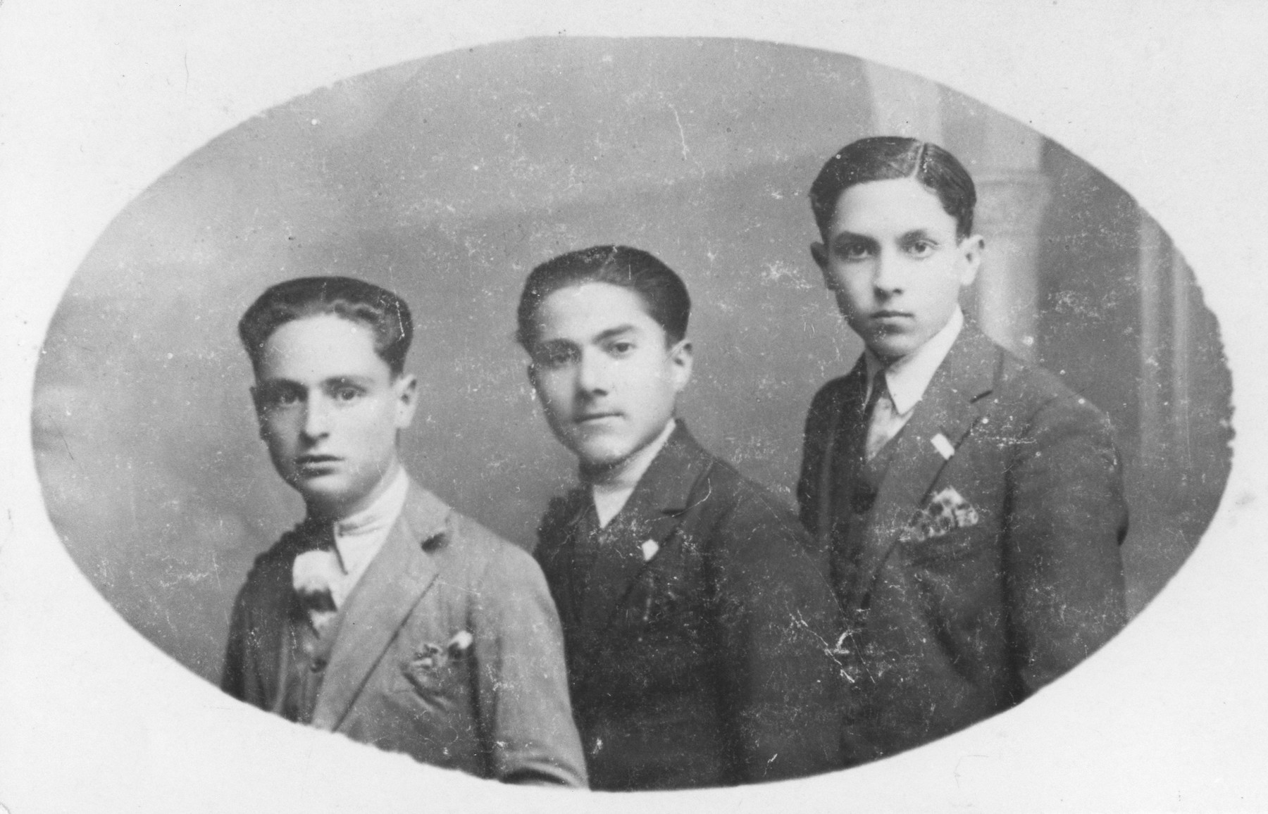 Studio portait of  three Macedonian Jewish youths.