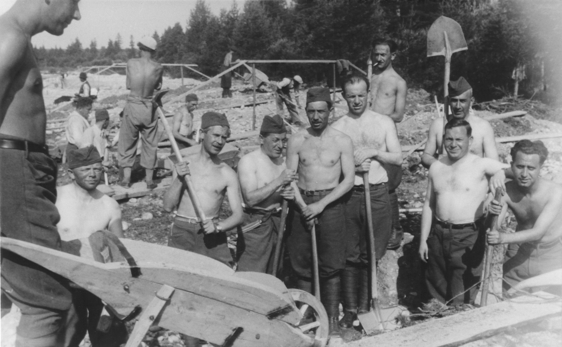 Jewish forced laborers do construction work at a military installation in Liptovsky Hradok.