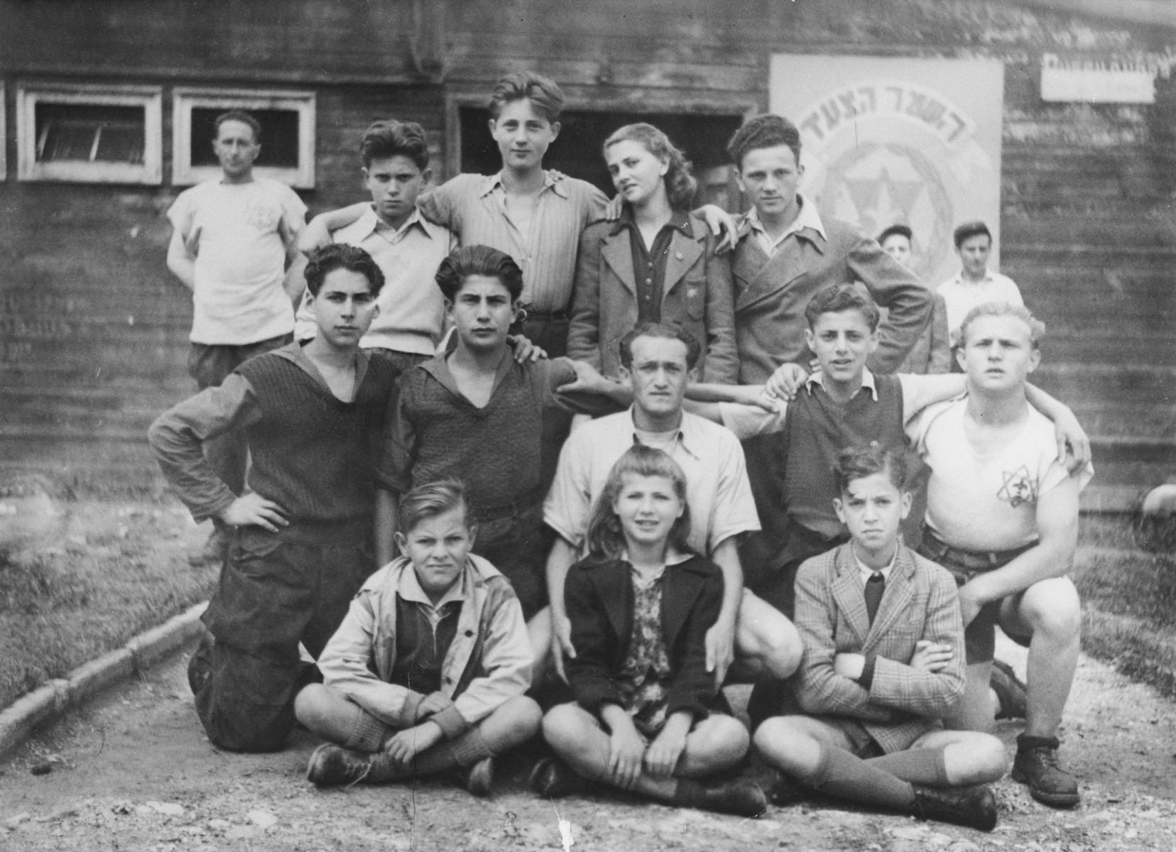 Young members of Hashomer Hatzair in a DP camp in Austria.  Standing in the center is Zoltan Farkas, to his left is Ahava and on the far right is Yosi Berger.
