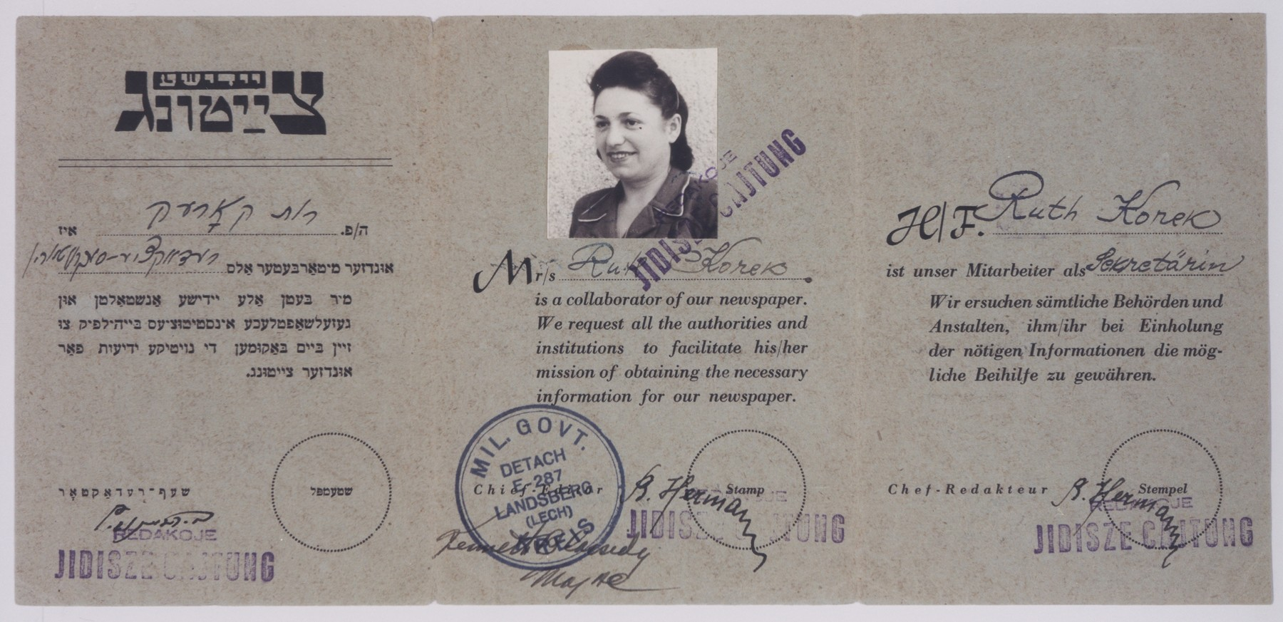 Press card issued to Ruth Korek attesting she is employed by the Landsberg Jidisze Cajtung.