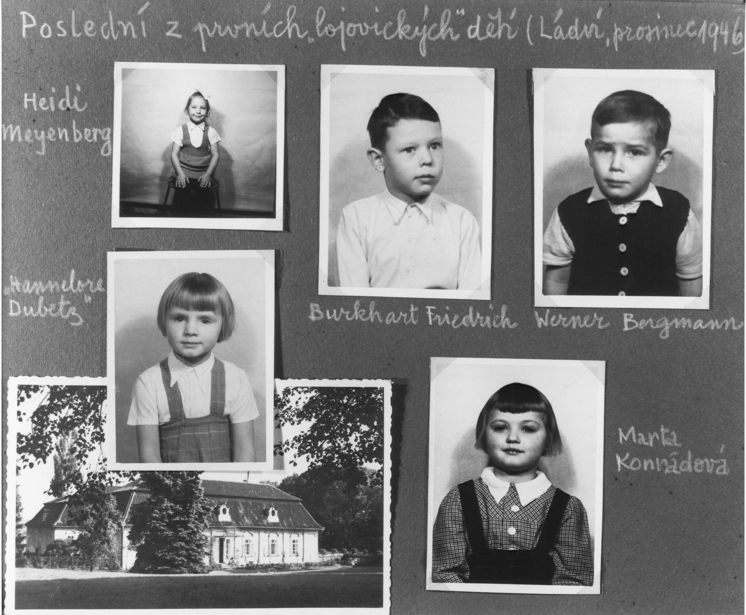 """Composite photograph of DP children in Lojovice, one of """"The Castles"""" children's homes established by Premysl Pitter and Olga Fierzova.  The Czech inscription at the top reads: """"The last of the first Lojovice children (Ladvi, December 1946)."""""""