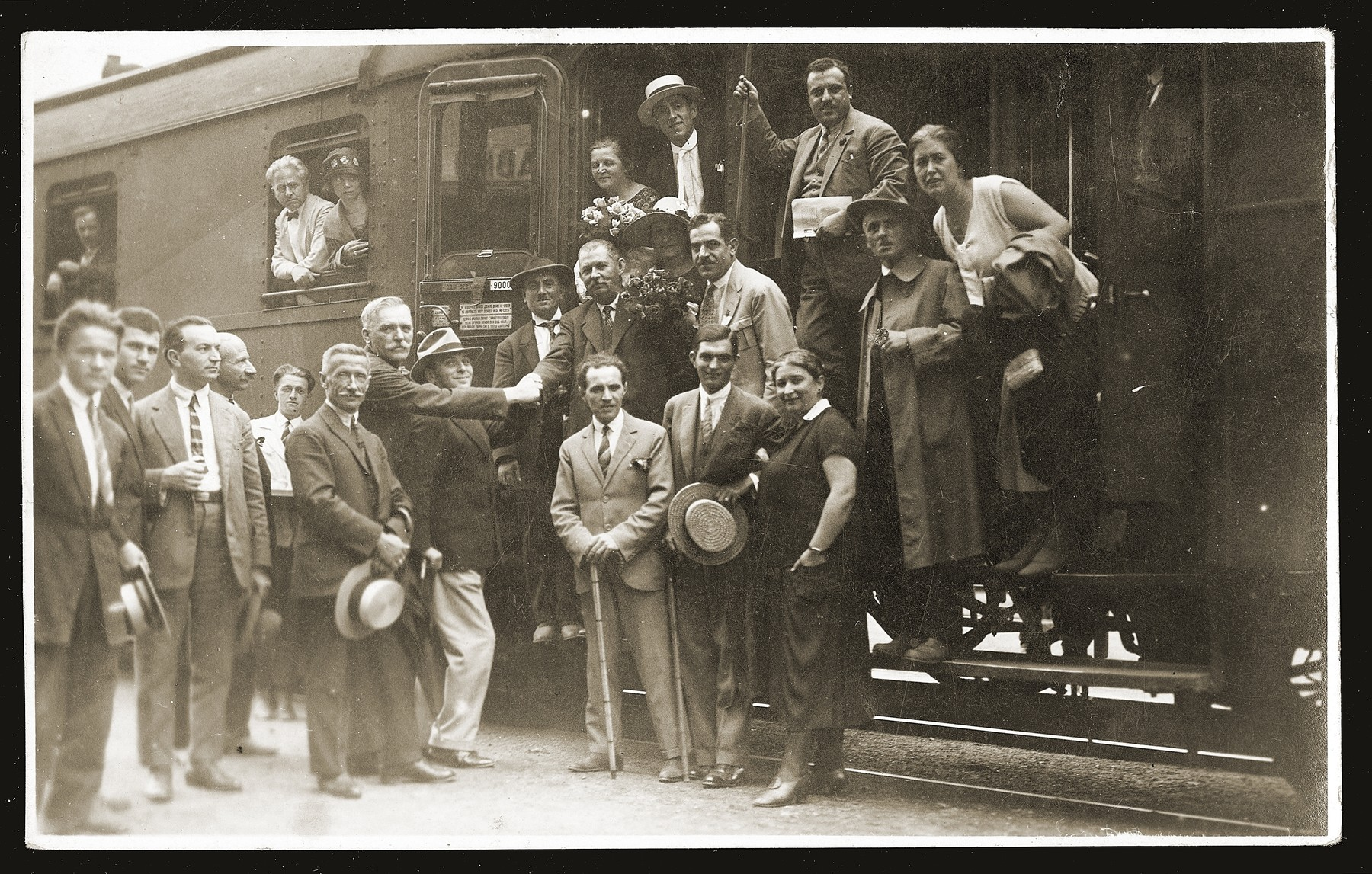 Members of the Serbian photographers' union pose at the Belgrade train station before their departure for a photographers' convention in Vienna.    Pictured (in the middle row, fourth from the left) is Gavra Konfino, the donor's maternal grandfather and the chairman of the photographers' union.