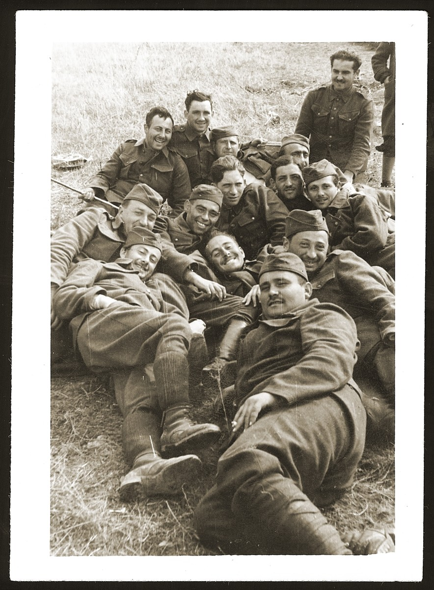 Group portrait of Jewish soldiers in the Slovak army.  The Jewish units were assigned to manual labor and not permitted to carry weapons.