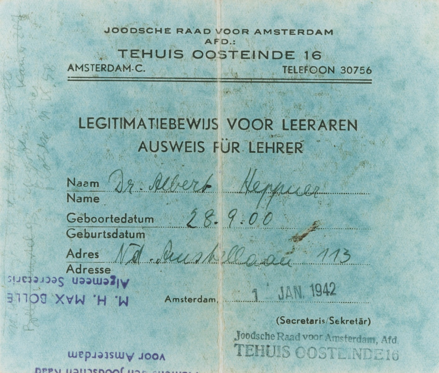 Teacher certification issued by the Jewish Council of Amsterdam to art historian Albert Heppner.