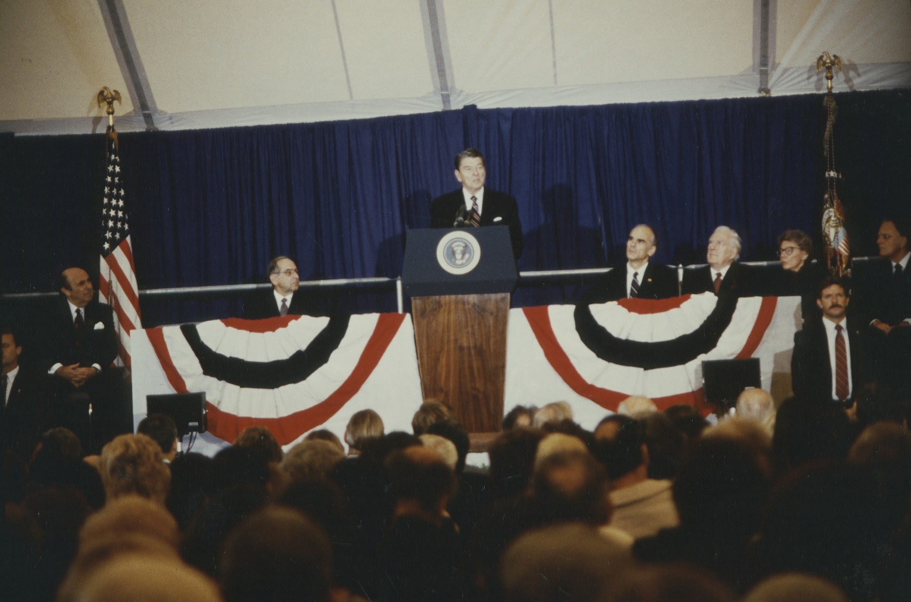 Ronald Reagan speaking at the laying of the cornerstone ceremony of the U.S. Holocaust Memorial Museum.