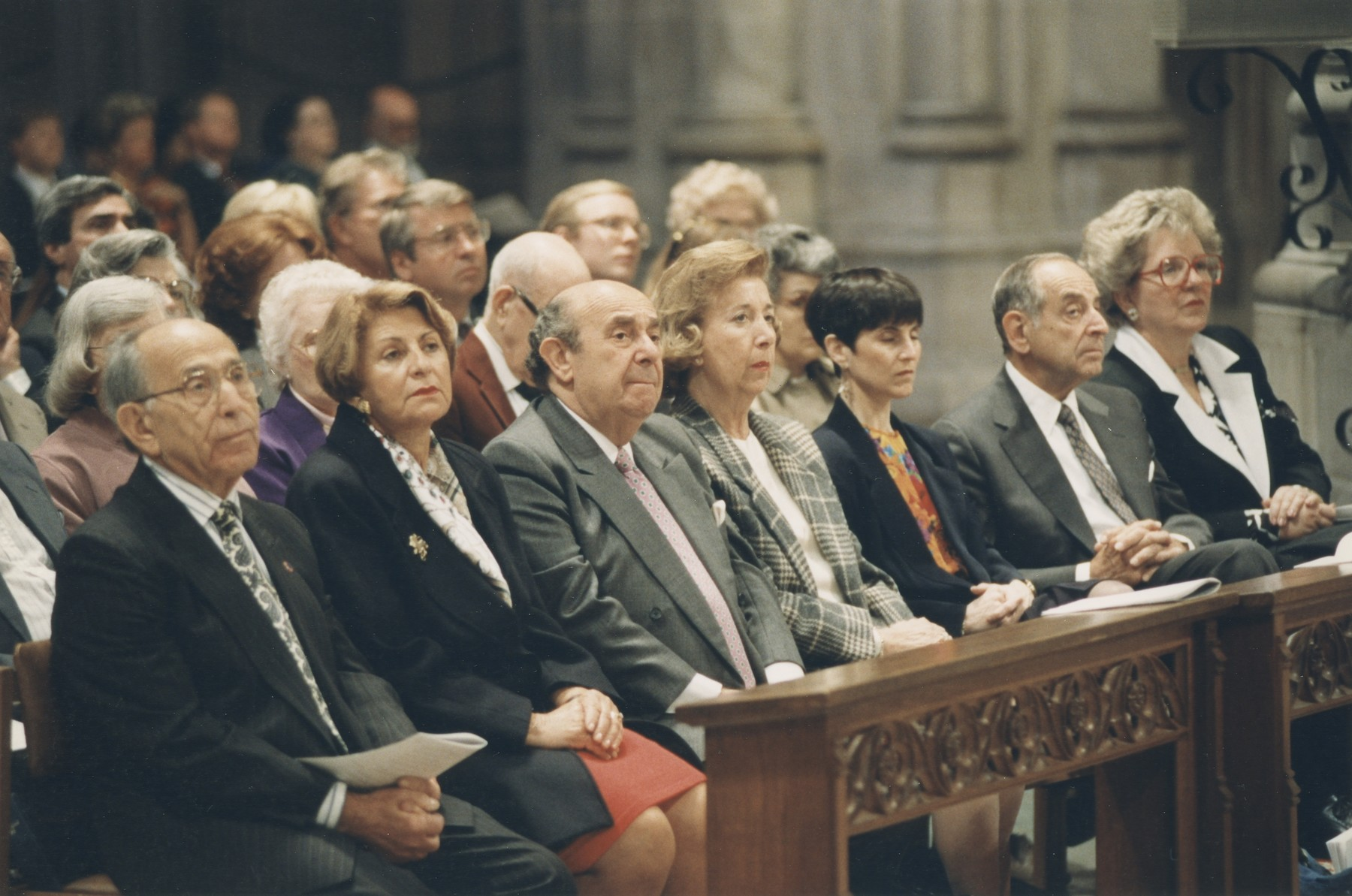 Members of the U.S. Holocaust Memorial Council attend the Special Ecumenical Service at the National Cathedral in Washington, D.C. held on April 18, 1993 to commemorate the opening of the Museum.    Senator John Danforth of Missouri, an Episcopal priest, delivered a sermon against bigotry.  Rabbi Michael Berenbaum, Director of the USHMM Research Institute also participated in the interfaith service.  Among those pictured in the front row are: Miles and Chris Lerman (first and second on the left), William Lowenberg (third from the left) and Harvey Meyerhoff (second from the right).