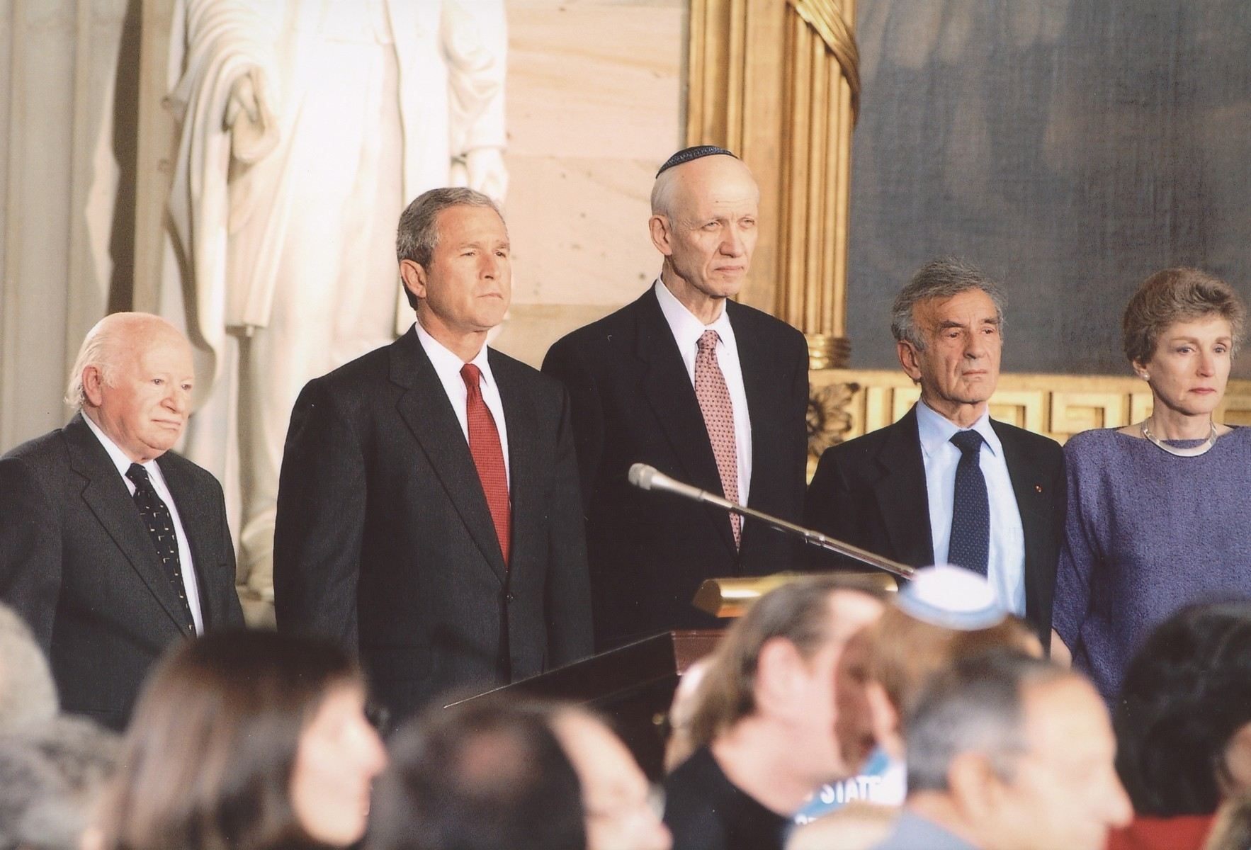 Ben Meed, George W. Bush, Rabbi Irving Greenberg, Elie Wiesel and Ruth Mandel at the 2001 Days of Remembrance ceremony, U.S. Capitol Rotunda.