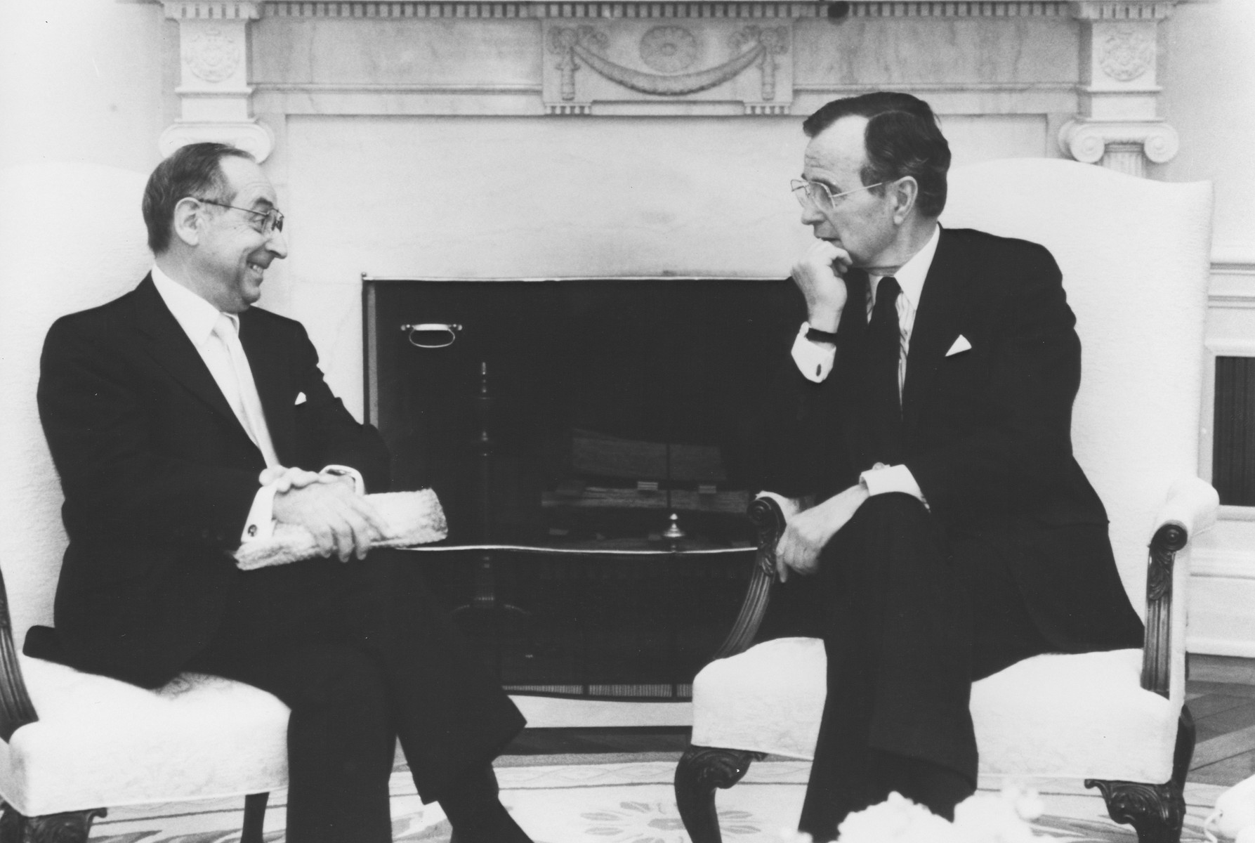 US Holocaust Memorial Council Chairman Harvey Meyerhoff in conversation with President George H.W. Bush at the White House.  Members of the U.S. Holocaust Memorial Council met with President George Bush on the occasion of the 1989 Days of Remembrance for the Victims of the Holocaust commemoration.