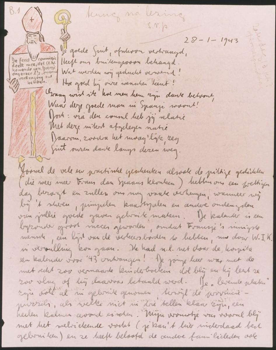 Christmas letter, written and illustrated by Albert Heppner.