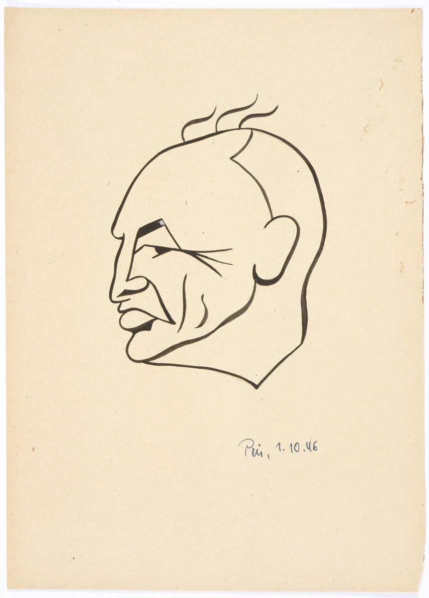 Caricature of Nuremberg International Military Tribunal defendant Julius Streicher, by the German newspaper caricaturist, Peis.