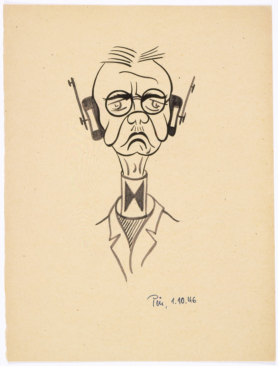 Caricature of Nuremberg International Military Tribunal defendant Hjalmar Schacht, by the German newspaper caricaturist, Peis.