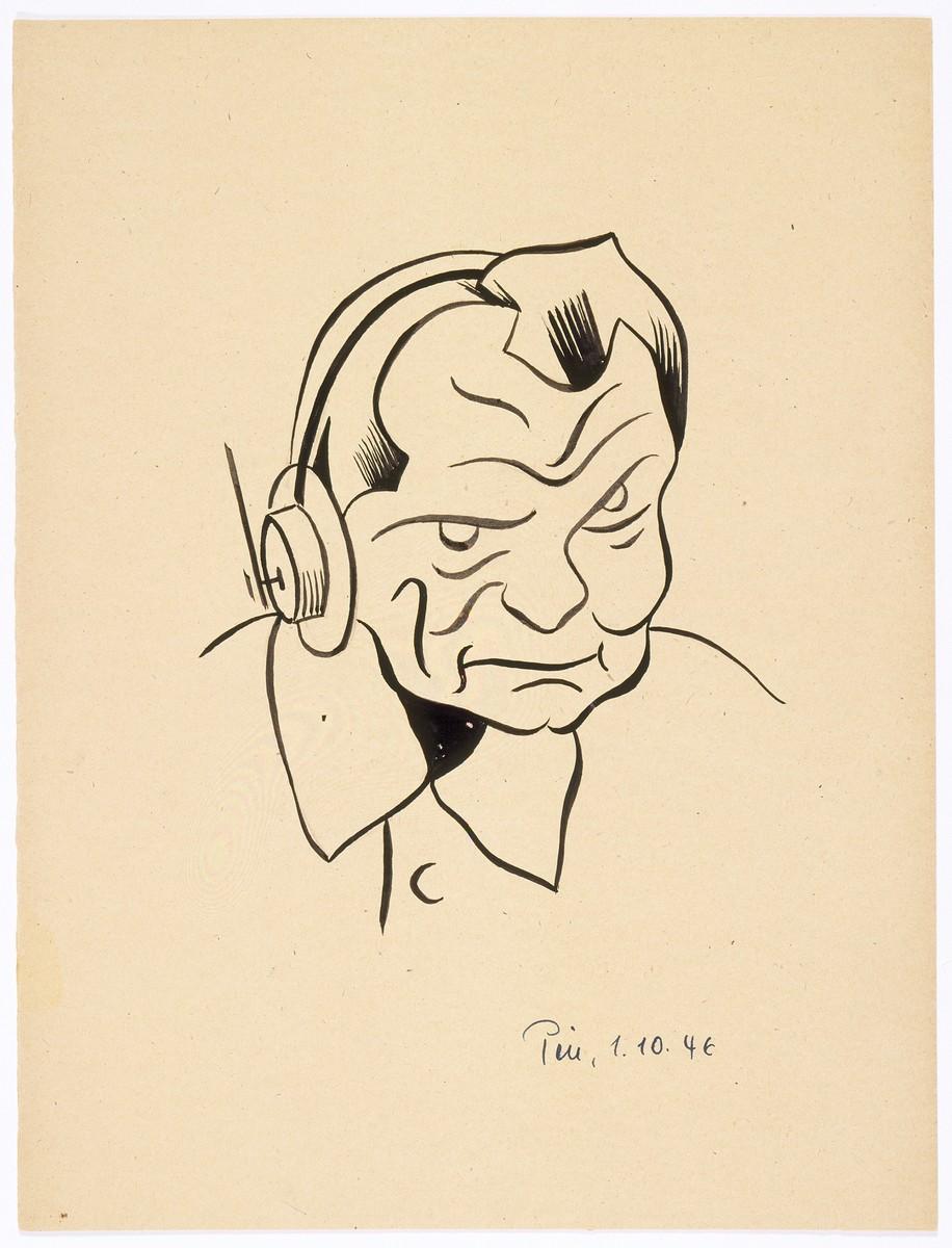 Caricature of Nuremberg International Military Tribunal defendant Hermann Goering, by the German newspaper caricaturist, Peis.