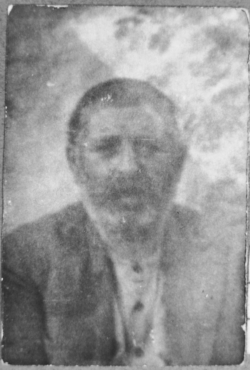 Portrait of Benzion Mishulam.  He lived at Orizarska 7 in Bitola.