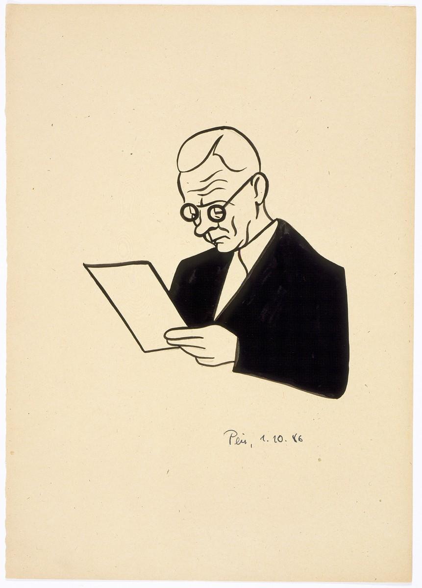 Caricature of Nuremberg International Military Tribunal defendant Alfred Rosenberg, by the German newspaper caricaturist, Peis.