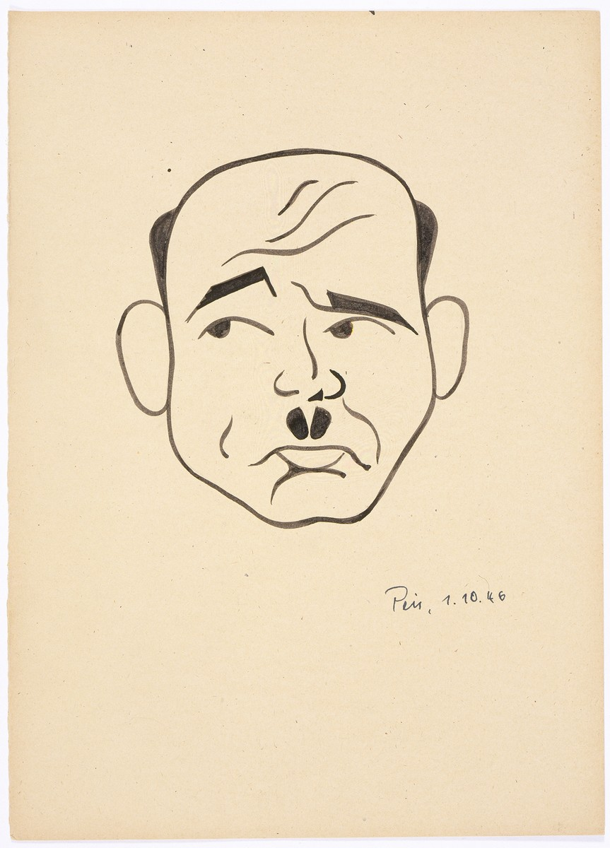 Caricature of Nuremberg International Military Tribunal defendant Fritz Saukel, by the German newspaper caricaturist, Peis.