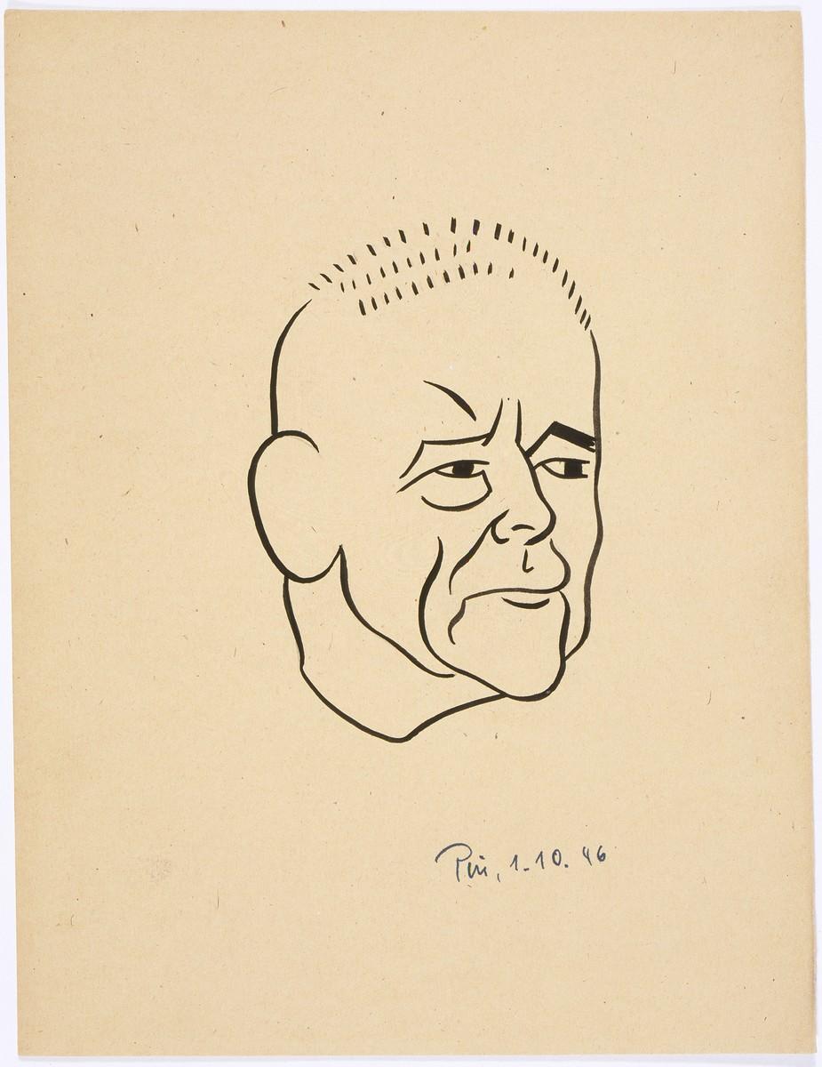 Caricature of Nuremberg International Military Tribunal defendant Wilhelm Frick, by the German newspaper caricaturist, Peis.
