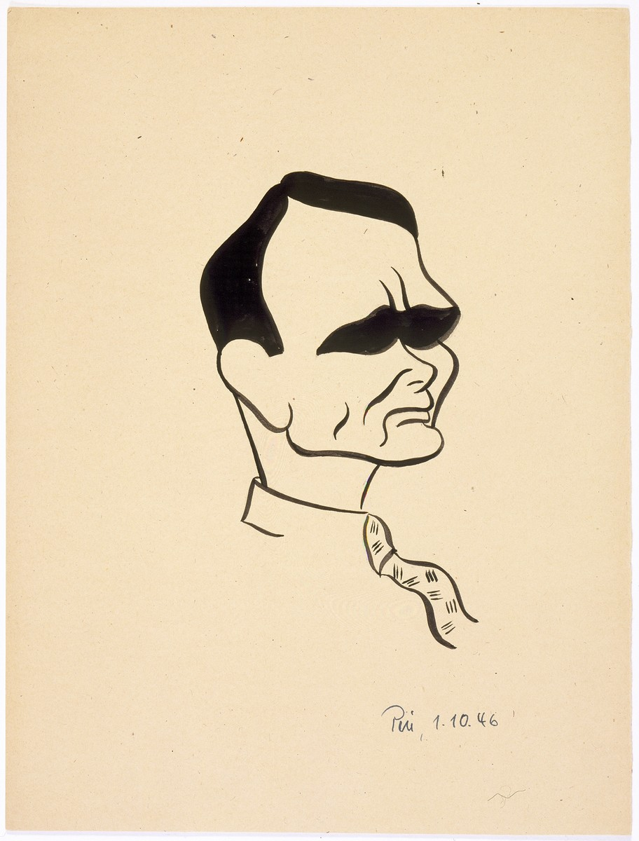 Caricature of Nuremberg International Military Tribunal defendant Rudolf Hess, by the German newspaper caricaturist, Peis.