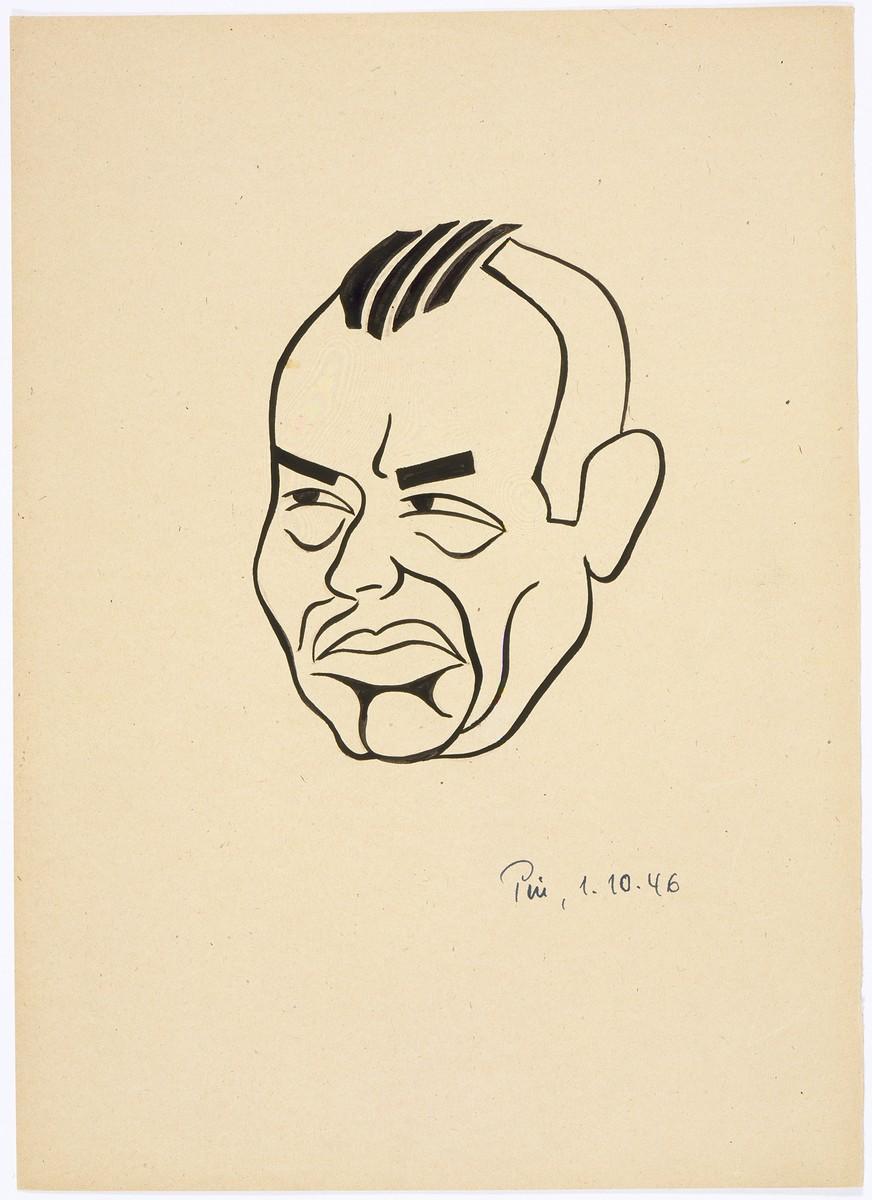 Caricature of Nuremberg International Military Tribunal defendant Hans Frank, by the German newspaper caricaturist, Peis.