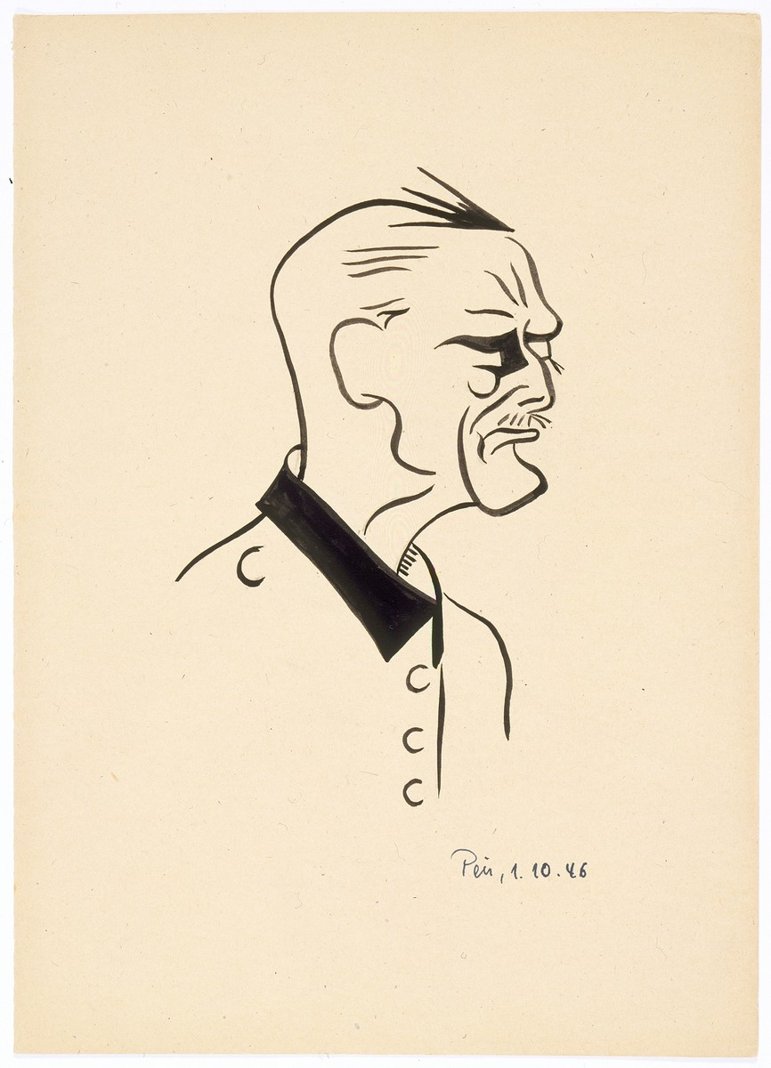 Caricature of Nuremberg International Military Tribunal defendant Wilhelm Keitel, by the German newspaper caricaturist, Peis.