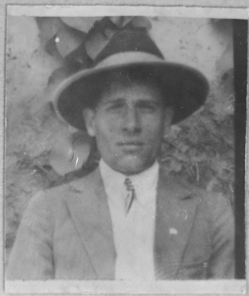 Portrait of Gabriel Massot.  He was a cafe owner.  He lived at Karagoryeva 68 in Bitola.