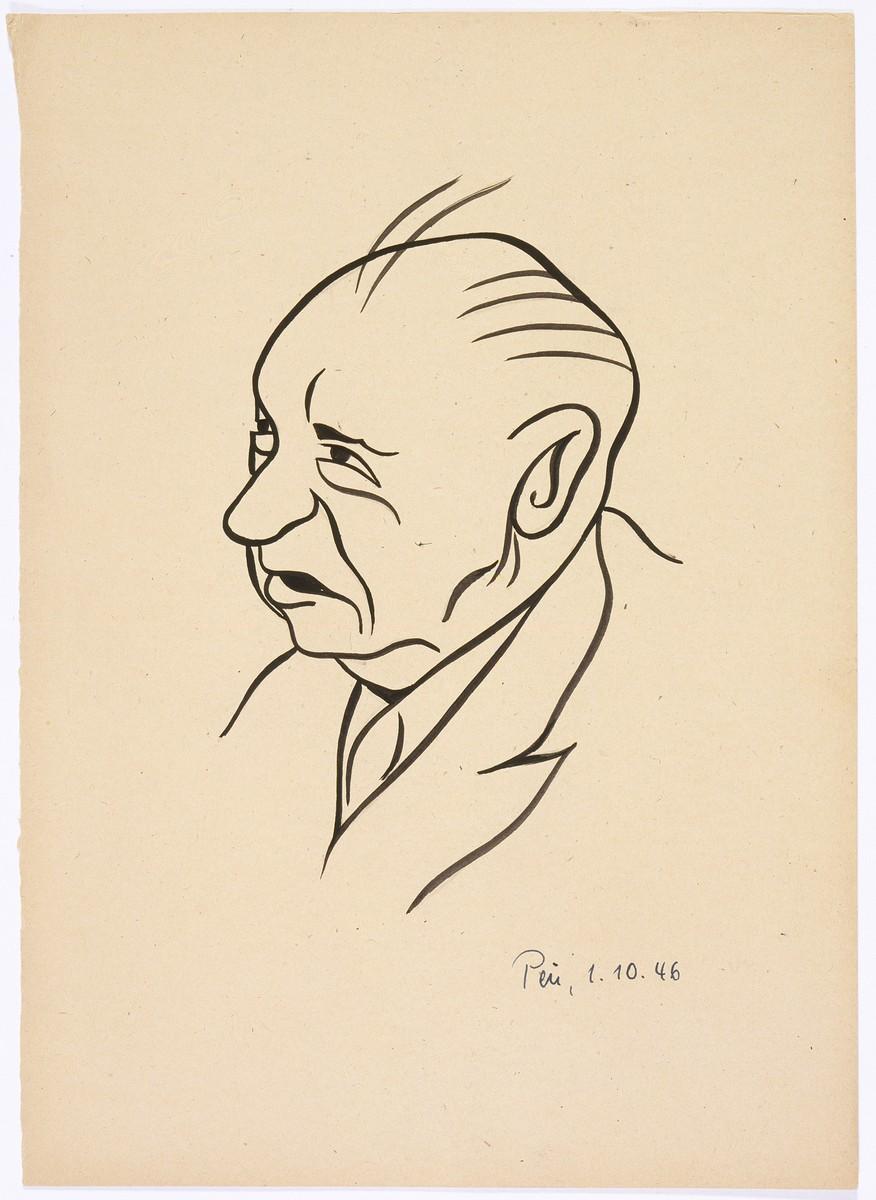 Caricature of Nuremberg International Military Tribunal defendant Walther Funk, by the German newspaper caricaturist, Peis.