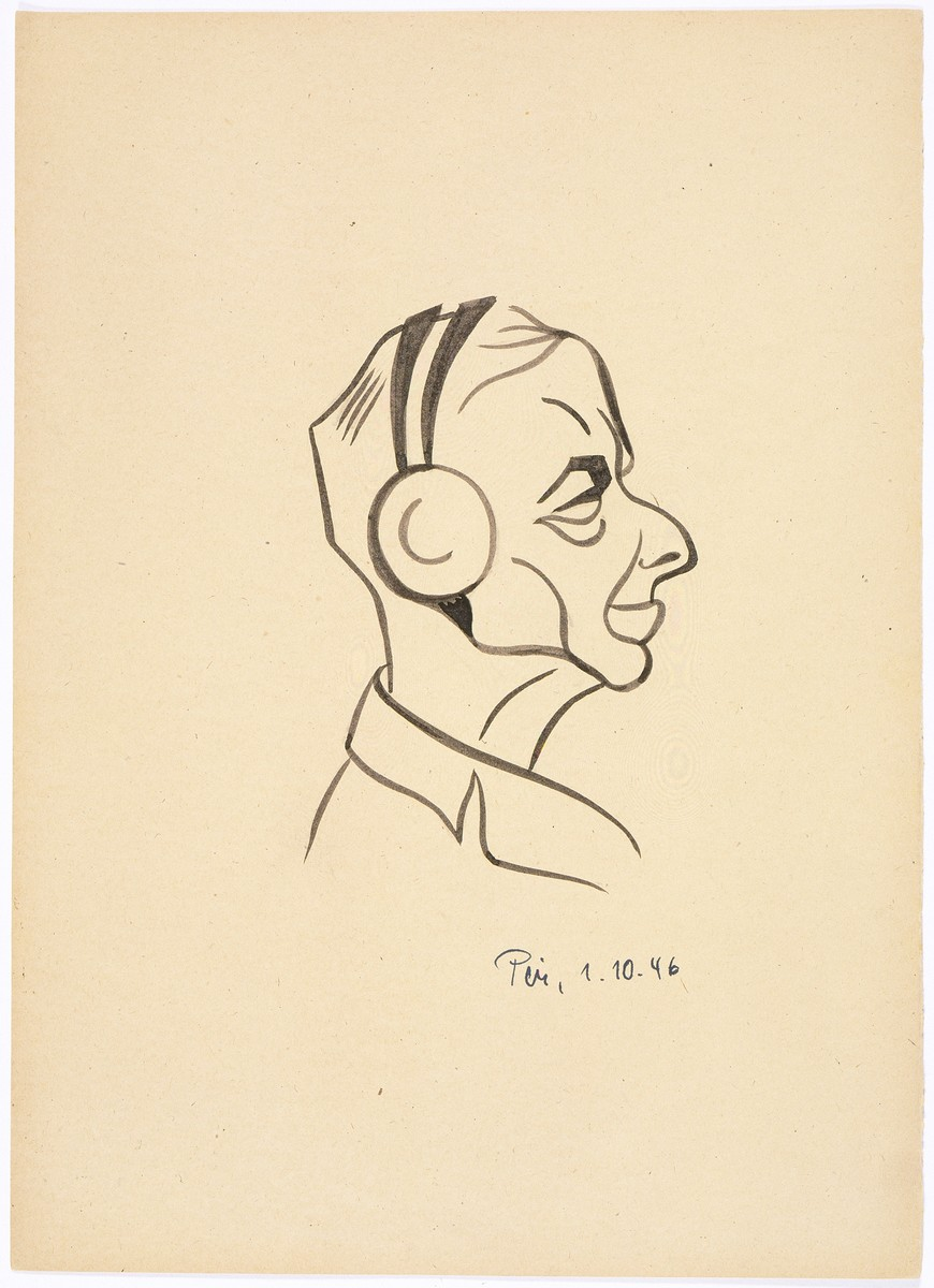 Caricature of Nuremberg International Military Tribunal defendant Erich Raeder, by the German newspaper caricaturist, Peis.