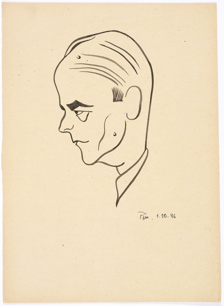 Caricature of Nuremberg International Military Tribunal defendant Albert Speer, by the German newspaper caricaturist, Peis.