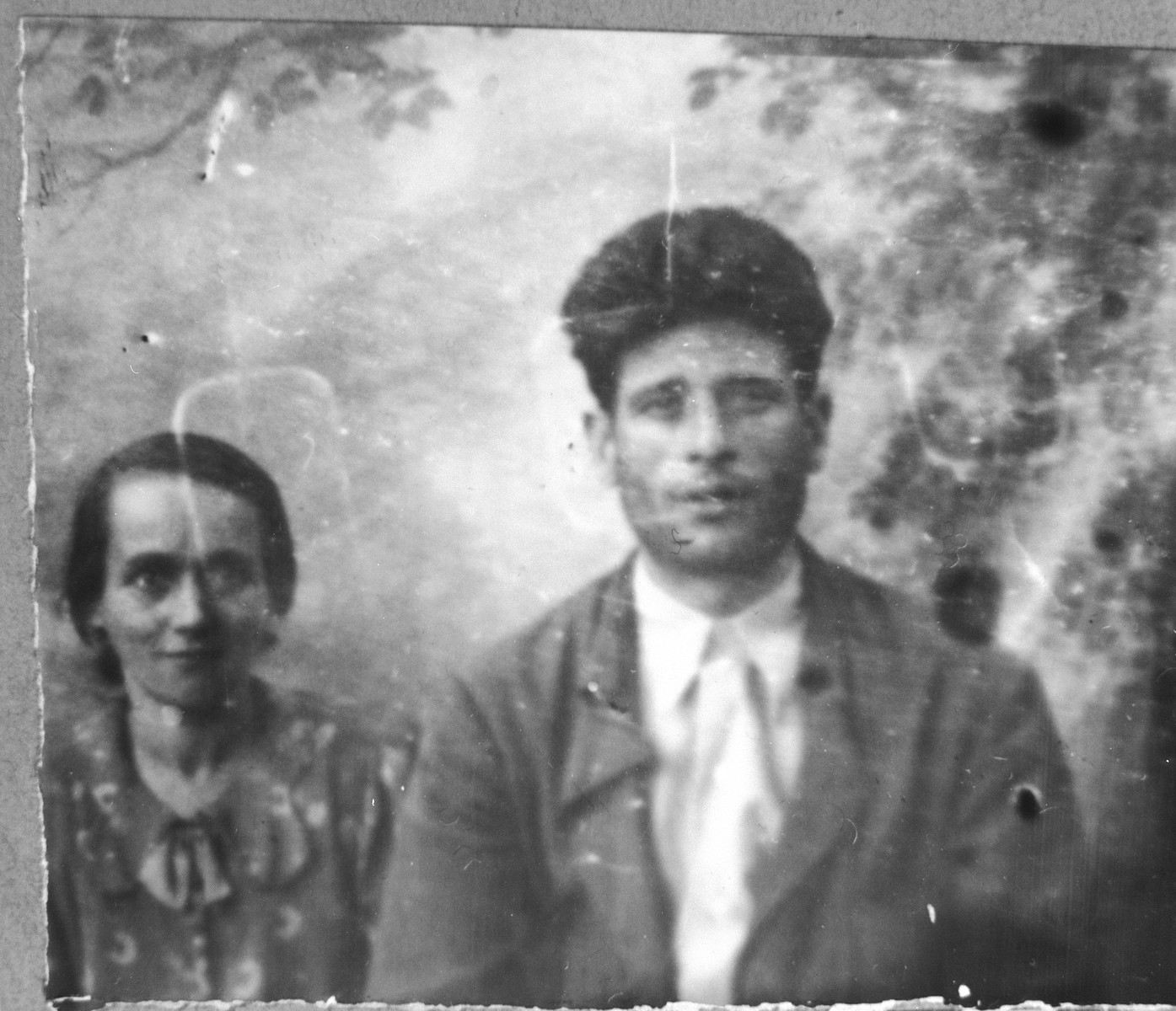 Portrait of Gabriel Massot and his wife, Lutsa.  Gabriel was a cafe owner.  They lived at Karagoryeva 68 in Bitola.